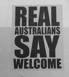 Poster welcoming refugees. In Australia Royalty Free Stock Photo
