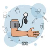Poster white background with black silhouette icons of health control in background and colorful arm with blood pressure Royalty Free Stock Image