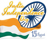 Poster in white Background with India's Flag for Independence Day, Vector Illustration Royalty Free Stock Photos