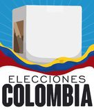 Waving Colombia Flag and Voting Box for Colombian Electoral Event, Vector Illustration. Poster with white voting box and a Colombian flag waving around it Royalty Free Stock Photo