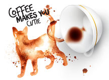 Poster wild coffee cat Royalty Free Stock Image
