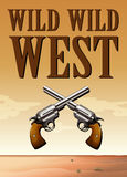 Poster of wild west with two fireguns. Illustration Stock Photos