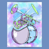 Poster with wind instruments Royalty Free Stock Photo