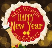 Froth like a Circle with Greeting Message for New Year, Vector. Poster with wine bottle and froth forming a circle with greeting message for New Year Royalty Free Stock Photo