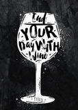 Poster wine chalk Royalty Free Stock Photography