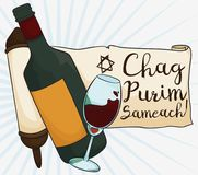 Greetings in Scroll with Wine Glass and Bottle for Purim, Vector Illustration. Poster with wine glass and bottle close to a scroll with greetings, wishing you a Stock Photo