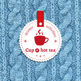 Poster for a winter activity. Cup of hot tea as a winter pleasure. Poster for a winter activity. Motto, slogan for winter season. Cup of hot tea as a winter Stock Images