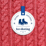 Poster for a winter activity. Ice skating as a winter pleasure. Poster for a winter activity. Motto, slogan for winter season. Ice skating as a winter pleasure Royalty Free Stock Photo
