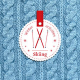 Poster for a winter activity. Skiing as a winter pleasure. Poster for a winter activity. Motto, slogan for winter season. Skiing as a winter pleasure. Emblem Stock Photos