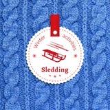 Poster for a winter activity. Sledding as a winter pleasure. Poster for a winter activity. Motto, slogan for winter season. Sledding as a winter pleasure Stock Photos
