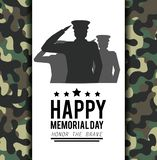 Poster With Military Man And Camouflage Uniform Royalty Free Stock Photos