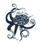Poster With Octopus Silhouette And Lettering Stock Image