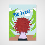 Poster with a woman with developing hair in a Royalty Free Stock Images