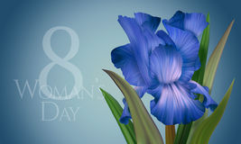 Poster for Woman's Day with original artistic colorful fantasy blue and indigo iris Royalty Free Stock Photography