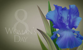Poster for Woman's Day with original artistic colorful fantasy blue  iris Stock Photo