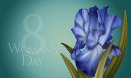 Poster for Woman's Day with original artistic colorful fantasy blue  iris Stock Photos
