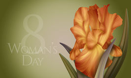 Poster for Woman's Day with original artistic colorful fantasy orange  iris Stock Photo
