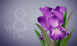 Poster for Woman's Day with original artistic colorful fantasy violet iris. Beautiful Greeting Card, Banner, Poster for Woman's Day with original artistic Stock Photo