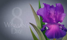 Poster for Woman's Day with original artistic colorful fantasy violet iris. Beautiful Greeting Card, Banner, Poster for Woman's Day with original artistic Stock Images
