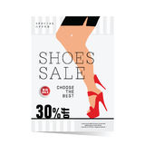Poster of woman shoes sale with special offer illustration. In colorful Royalty Free Stock Photo