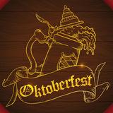 Poster with a Wood Carved Stein Beer Design for Oktoberfest, Vector Illustration. Beauty golden carved frothy beer design decorated with a ribbon for Oktoberfest Stock Photography