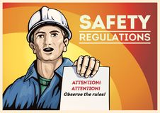 Poster with workers and a leaflet with instructions. Poster with labor people, holding in her hand with leaflet leaflet with instructions. Vector illustration stock illustration