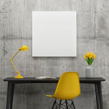 Poster in working space, minimalism concept with yellow tulips. 3d illustration Royalty Free Stock Photography