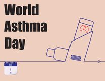 Poster World Asthma Day. Calendar holiday of May - World Asthma Day Stock Images