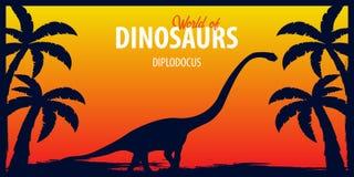 Poster World of dinosaurs. Prehistoric world. Diplodocus. Jurassic period. Royalty Free Stock Photo