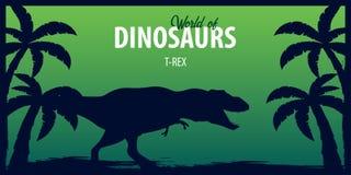 Poster World of dinosaurs. Prehistoric world. T-rex. Cretaceous period. Royalty Free Stock Photos
