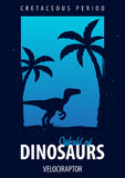 Poster World of dinosaurs. Prehistoric world. Velociraptor. Cretaceous period. Stock Photo