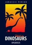 Poster World of dinosaurs. Prehistoric world. Diplodocus. Jurassic period. Royalty Free Stock Image
