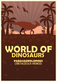 Poster World of dinosaurs. Prehistoric world. Parasaurolophus. Cretaceous period. Royalty Free Stock Photography