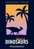 Poster World of dinosaurs. Prehistoric world. Parasaurolophus. Cretaceous period. Stock Images