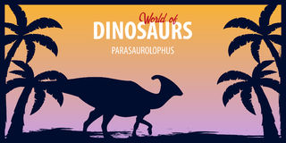 Poster World of dinosaurs. Prehistoric world. Parasaurolophus. Cretaceous period. Royalty Free Stock Photo