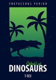 Poster World of dinosaurs. Prehistoric world. T-rex. Cretaceous period. Royalty Free Stock Photography
