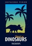 Poster World of dinosaurs. Prehistoric world. Triceratops. Cretaceous period. Stock Photos