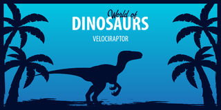 Poster World of dinosaurs. Prehistoric world. Velociraptor. Cretaceous period. Royalty Free Stock Photography