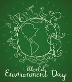 Poster for World Environment Day with Animals in Doodle Style, Vector Illustration. Poster in line style with view of Earth planet flora and fauna, commemorating vector illustration