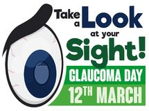 Sick Cartoon Eye Promoting Awareness in World Glaucoma Day, Vector Illustration. Poster for World Glaucoma Day with preventive message: to take a look in your Royalty Free Stock Image