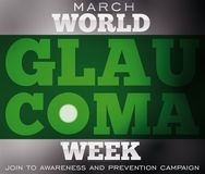 Design for Glaucoma Week with Blindness due this Ocular Disease, Vector Illustration. Poster for World Glaucoma Week with darkening effect: a sample of the Royalty Free Stock Photo