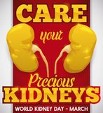 Kidney Day Design Promoting Care of this Precious Organs, Vector Illustration. Poster for World Kidney Day with golden kidneys: symbolizing the precious task Stock Photography