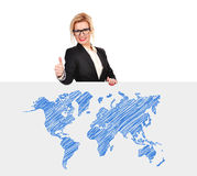 Poster with world map Royalty Free Stock Photos
