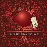 Poster World Tea Day. Teapot with a label December 15 stock illustration