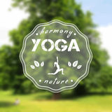 Poster for yoga class with a nature view. EPS,JPG. Vector yoga illustration. Name of yoga studio on a tree background. Yoga class motto. Yoga sticker with a Stock Photos