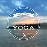 Poster for yoga class with a sea view.  EPS,JPG. Vector yoga illustration. Name of yoga studio on a sunset background. Yoga class motto. Yoga sticker. Vector Stock Images