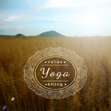 Poster for yoga class with a sunny day photo background. Blurred photo background. Vector yoga illustration. Name of yoga studio on a blurred field background Stock Photography