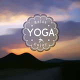 Poster for yoga class with a sunset  photo background. Blurred photo background. Royalty Free Stock Photo