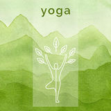 Poster for yoga class. Watercolor background. Royalty Free Stock Images