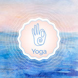Poster for yoga class with a watercolor landscape. Stock Photography